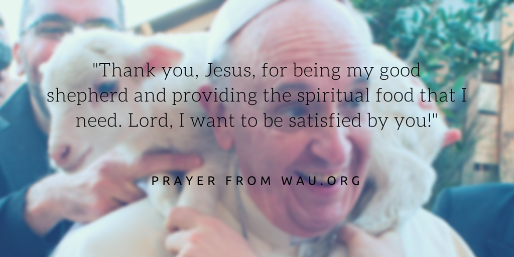 Thank you, Jesus, for being my good shepherd and providing the spiritual food that I need. Lord, I want to be satisfied by you!