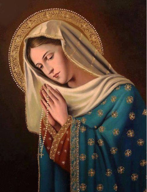 Mother Mary Praying the Rosary
